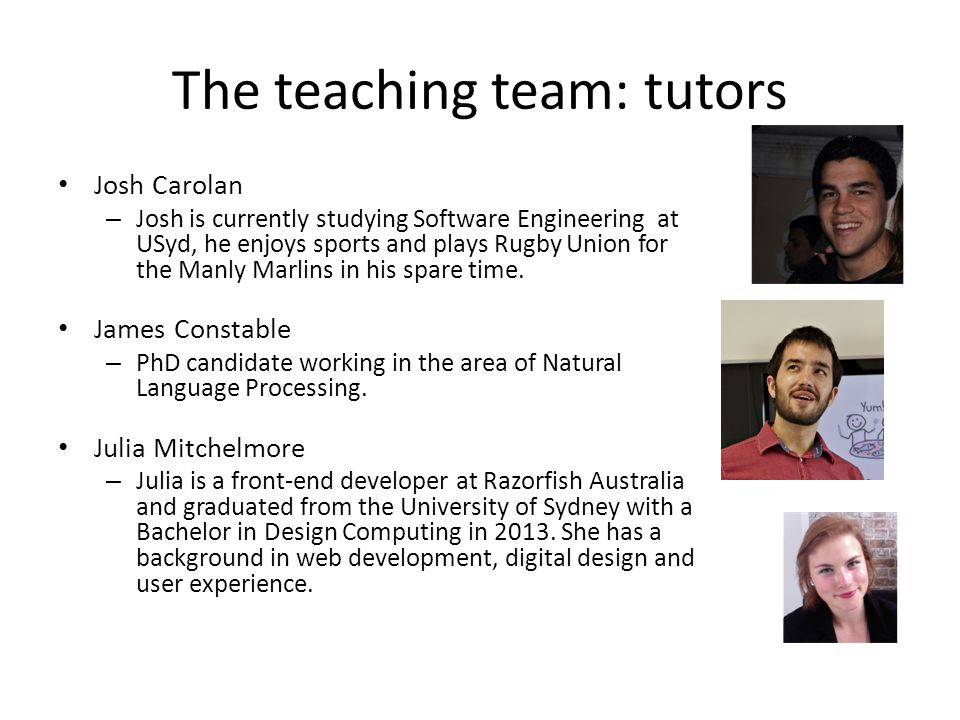 The teaching team: tutors