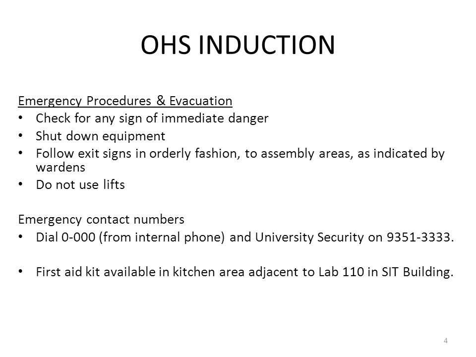 OHS INDUCTION Emergency Procedures & Evacuation
