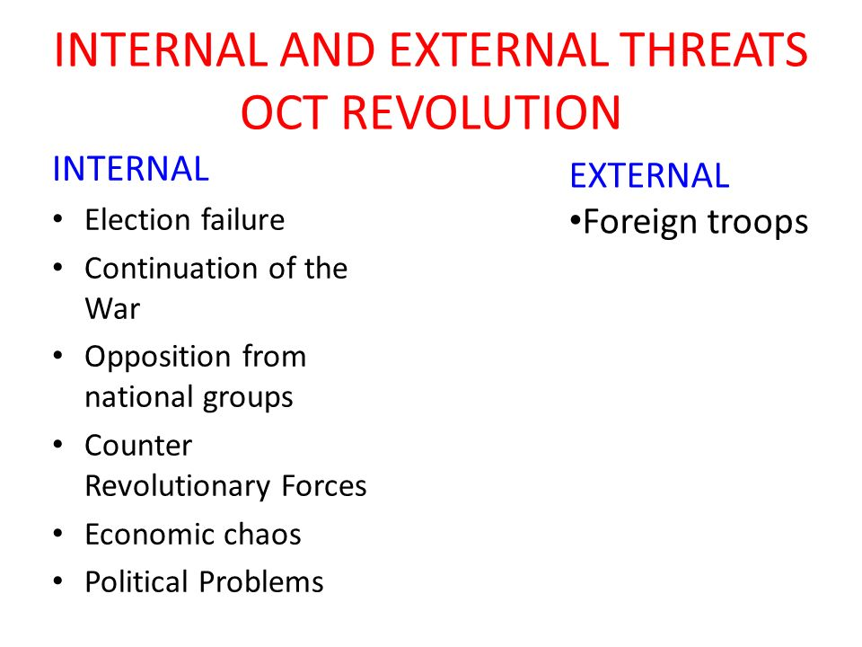 INTERNAL AND EXTERNAL THREATS OCT REVOLUTION