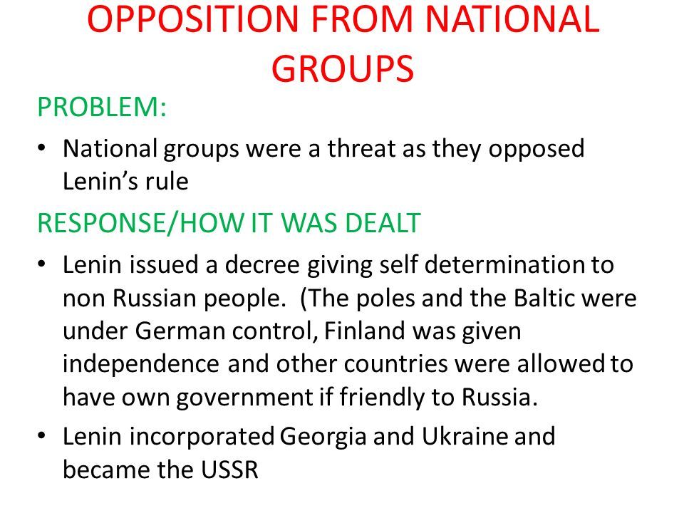 OPPOSITION FROM NATIONAL GROUPS