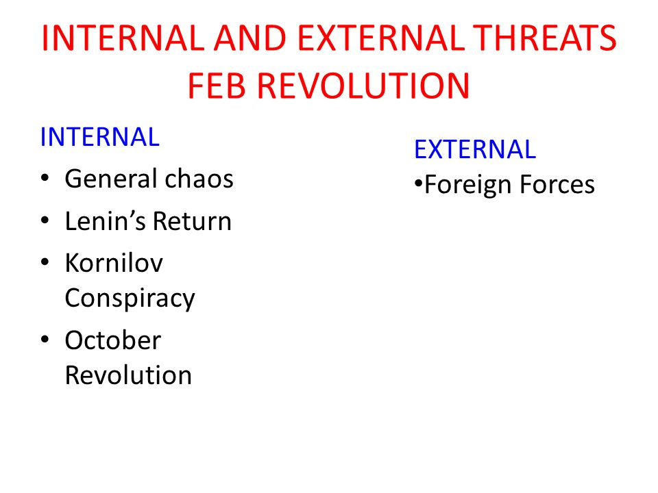 INTERNAL AND EXTERNAL THREATS FEB REVOLUTION