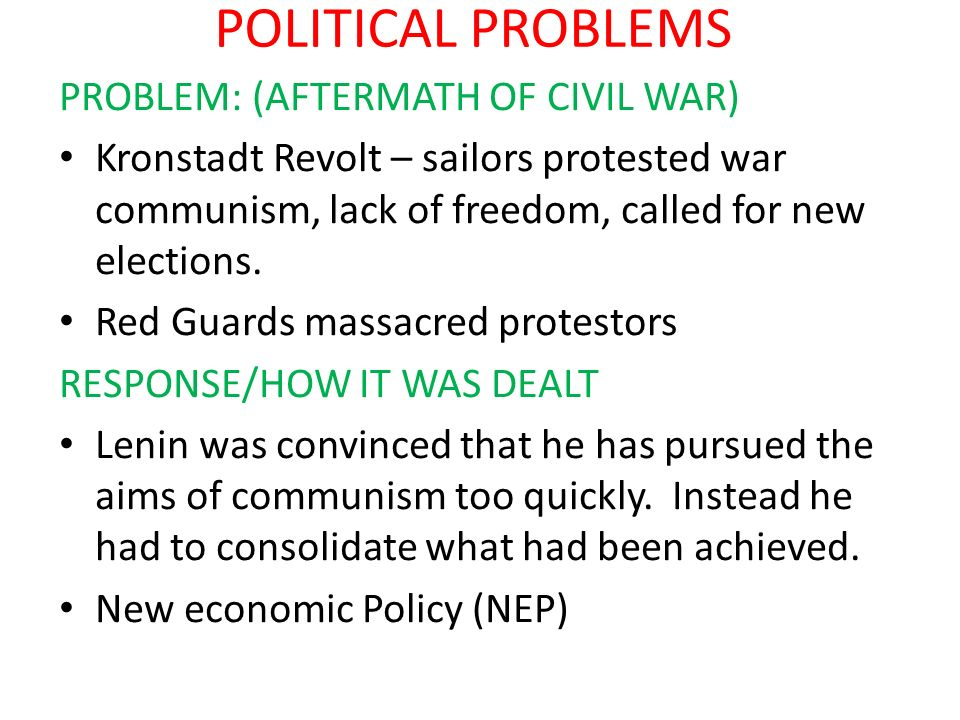 POLITICAL PROBLEMS PROBLEM: (AFTERMATH OF CIVIL WAR)