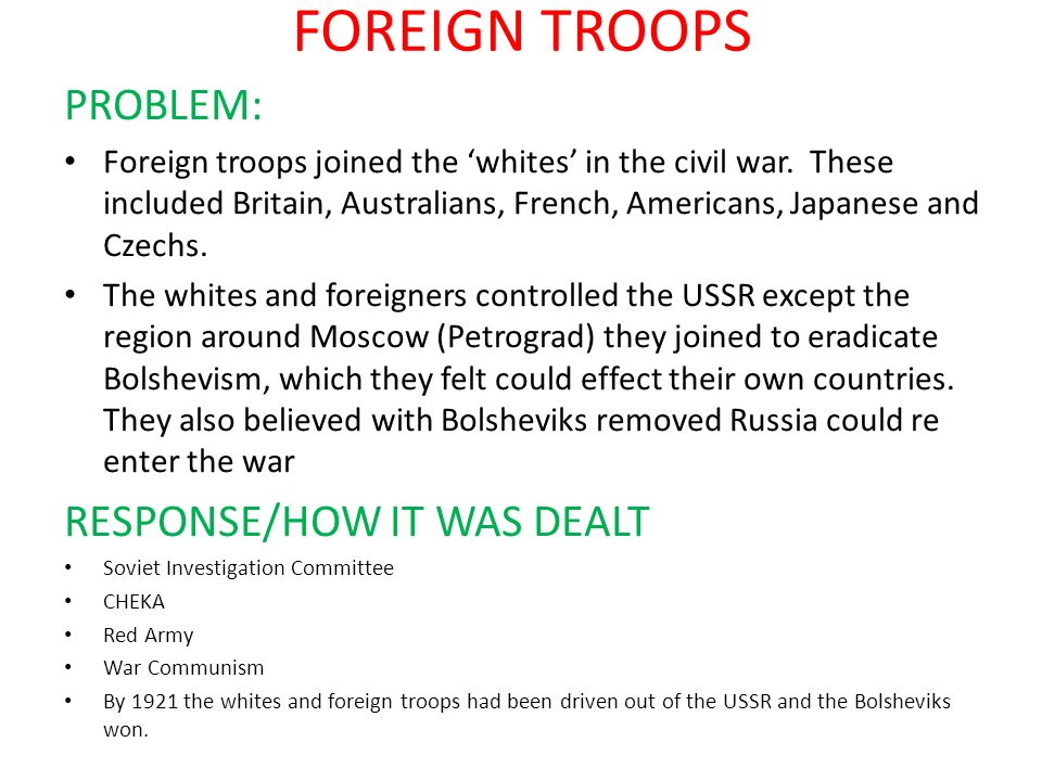 FOREIGN TROOPS PROBLEM: RESPONSE/HOW IT WAS DEALT
