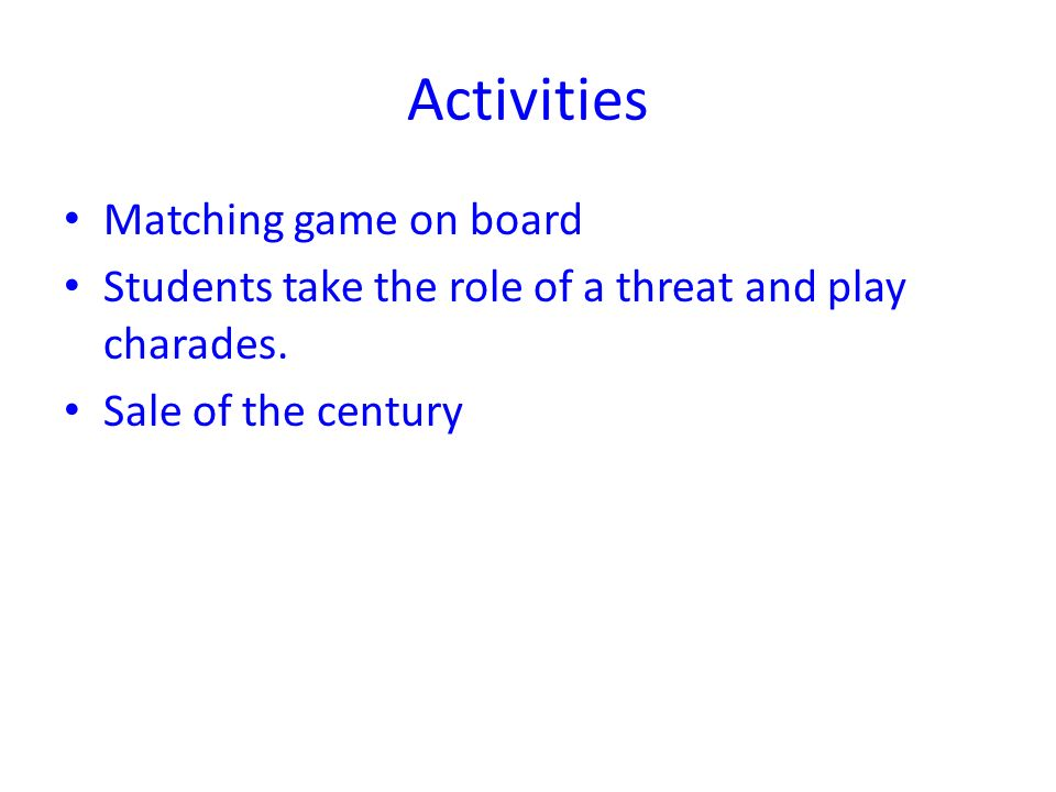 Activities Matching game on board