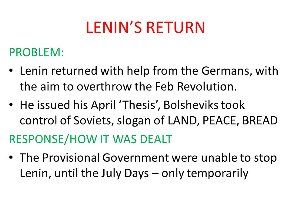 LENIN'S RETURN PROBLEM: