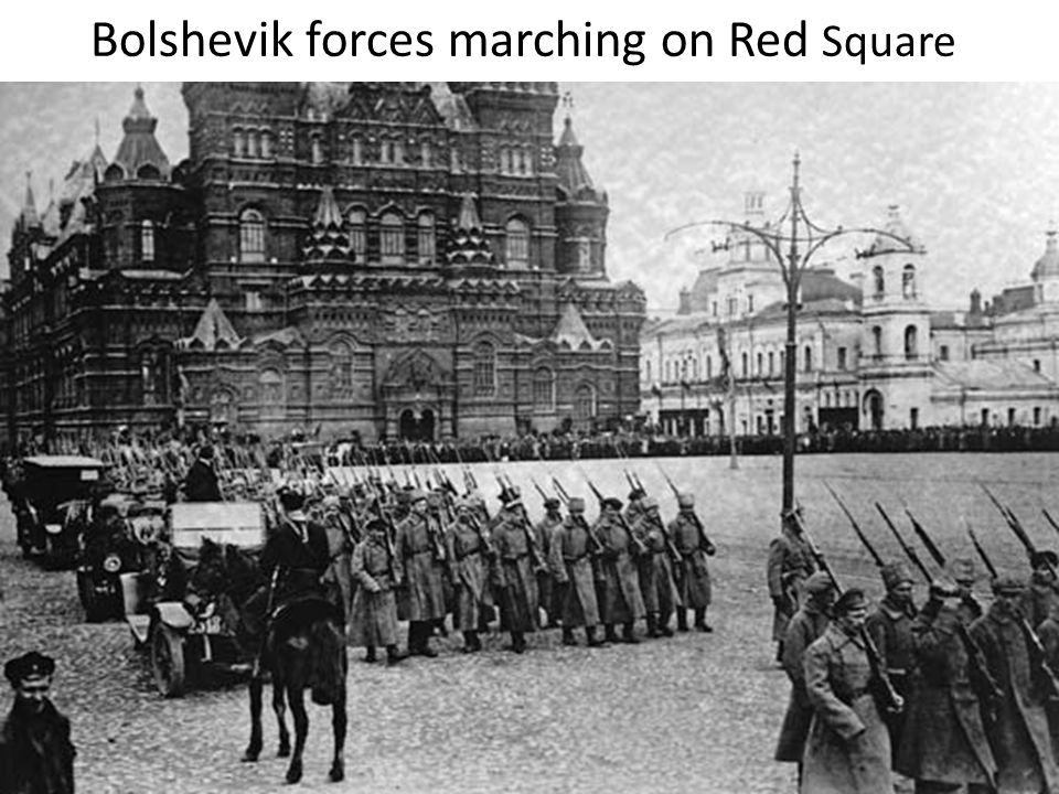 Bolshevik forces marching on Red Square