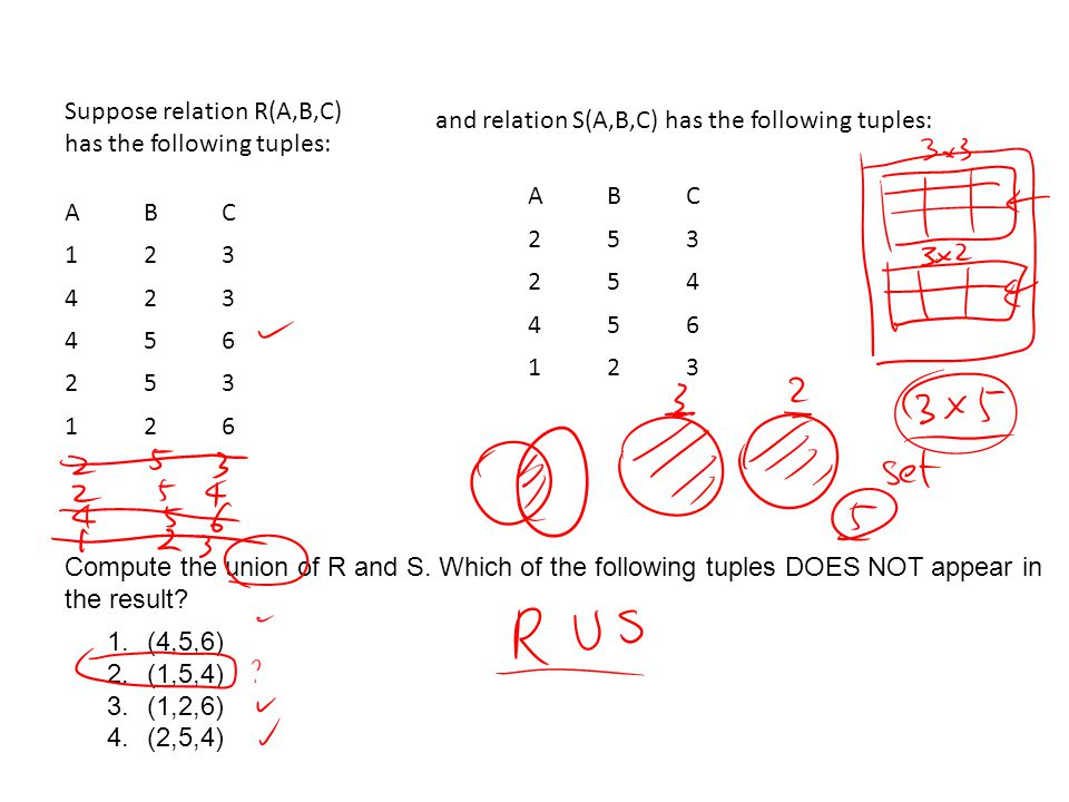 Suppose relation R(A,B,C) has the following tuples: