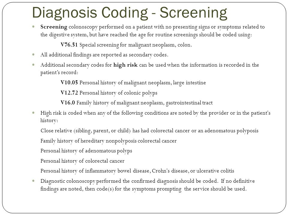 Diagnosis Coding - Screening