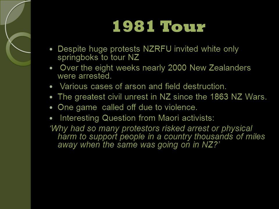 1981 Tour Despite huge protests NZRFU invited white only springboks to tour NZ. Over the eight weeks nearly 2000 New Zealanders were arrested.