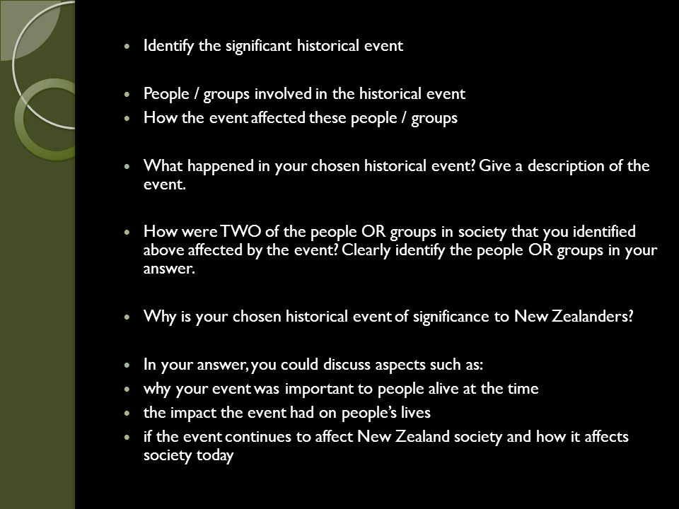 Identify the significant historical event