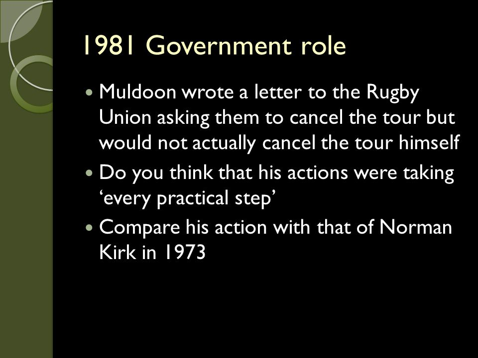 1981 Government role Muldoon wrote a letter to the Rugby Union asking them to cancel the tour but would not actually cancel the tour himself.