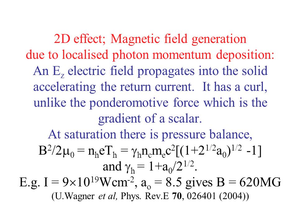 2D effect; Magnetic field generation due to localised photon momentum deposition: An Ez electric field propagates into the solid accelerating the return current.