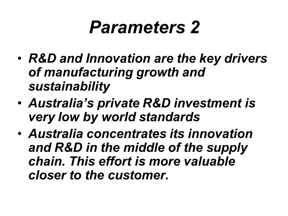 Parameters 2 R&D and Innovation are the key drivers of manufacturing growth and sustainability.