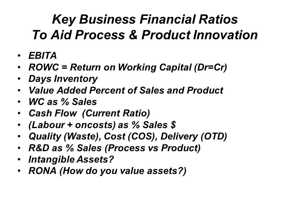 Key Business Financial Ratios To Aid Process & Product Innovation