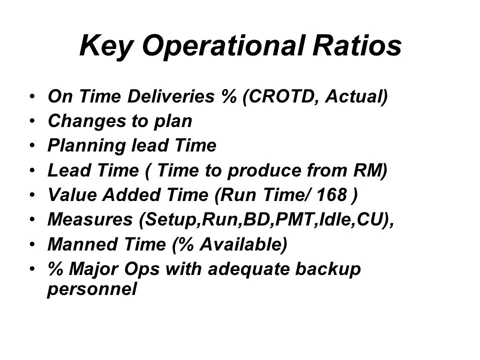 Key Operational Ratios