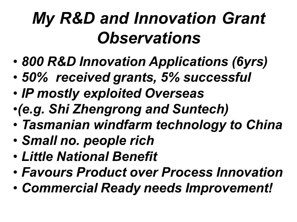 My R&D and Innovation Grant Observations