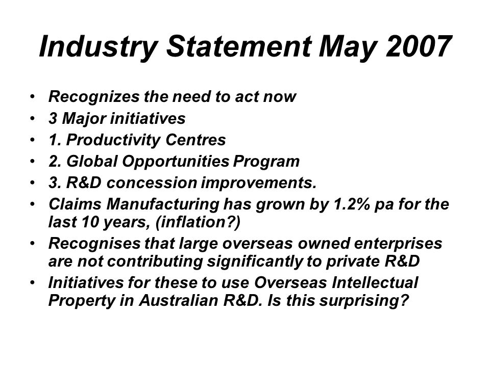 Industry Statement May 2007