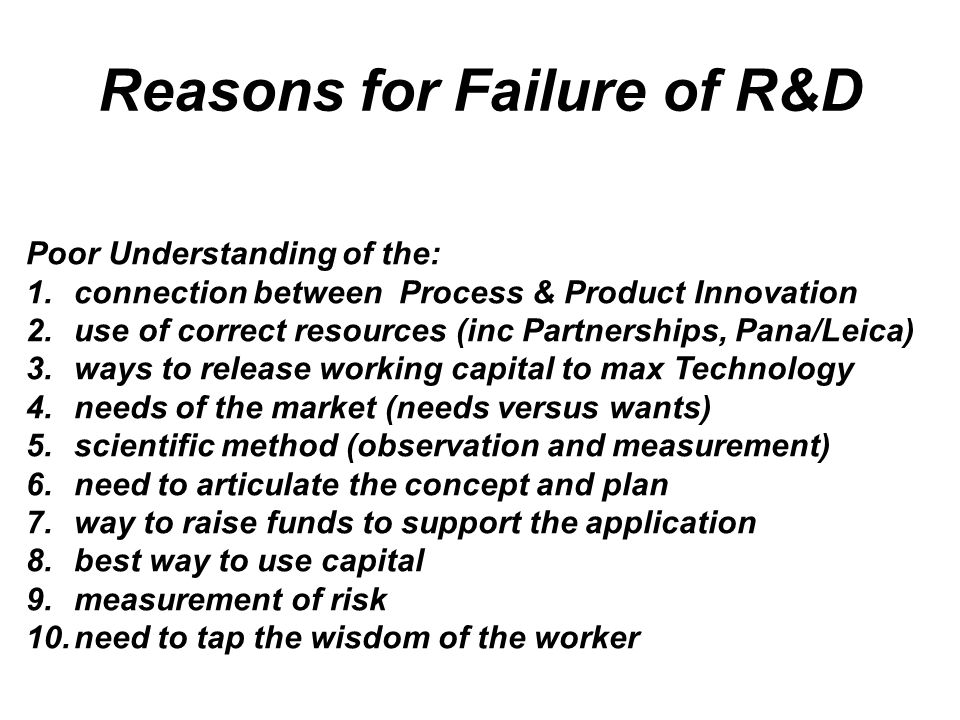 Reasons for Failure of R&D