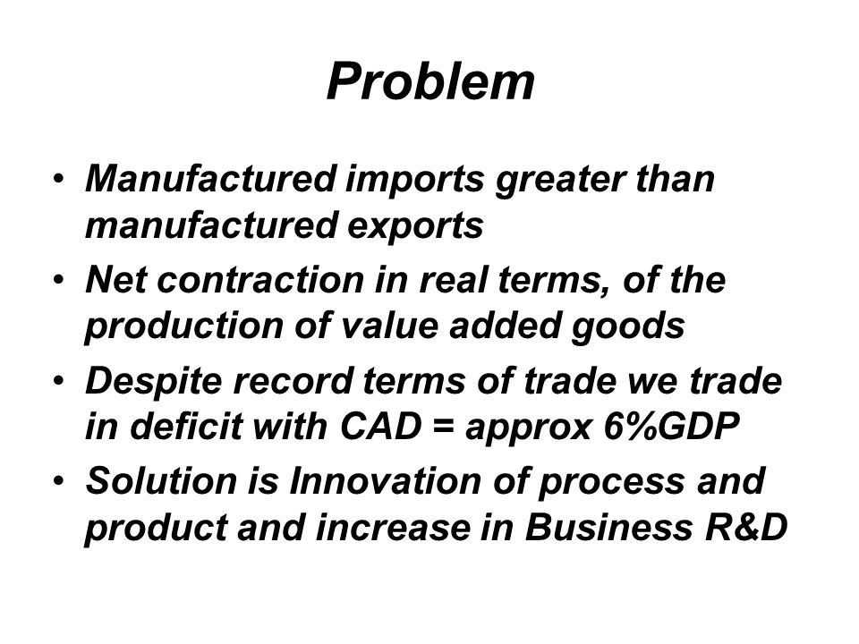Problem Manufactured imports greater than manufactured exports