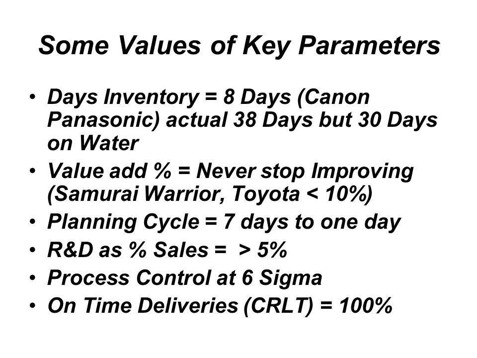 Some Values of Key Parameters