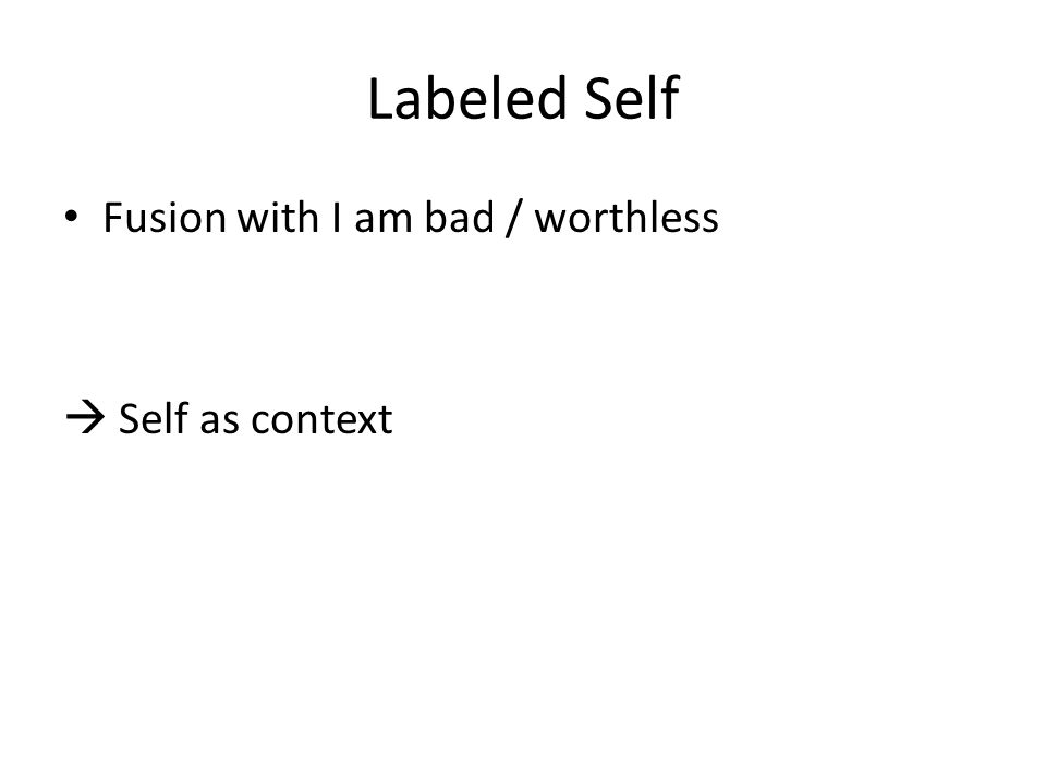 Labeled Self Fusion with I am bad / worthless  Self as context