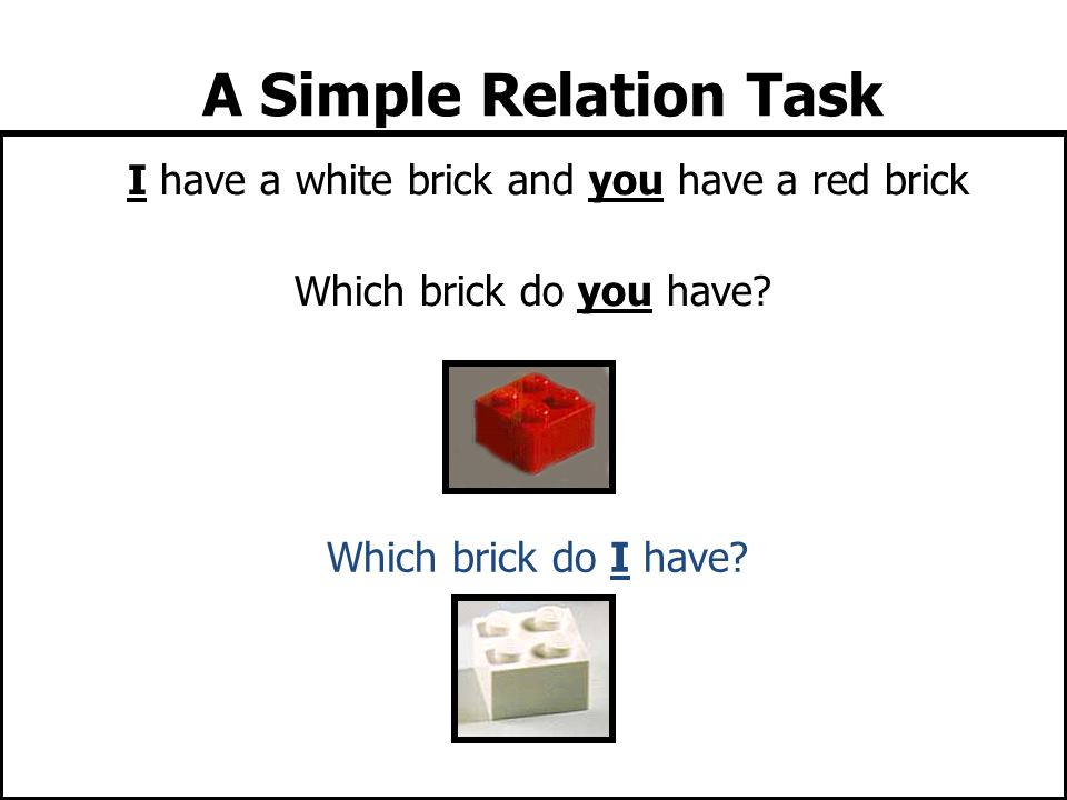 I have a white brick and you have a red brick