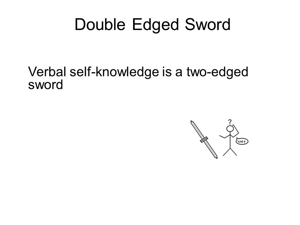 Double Edged Sword Verbal self-knowledge is a two-edged sword