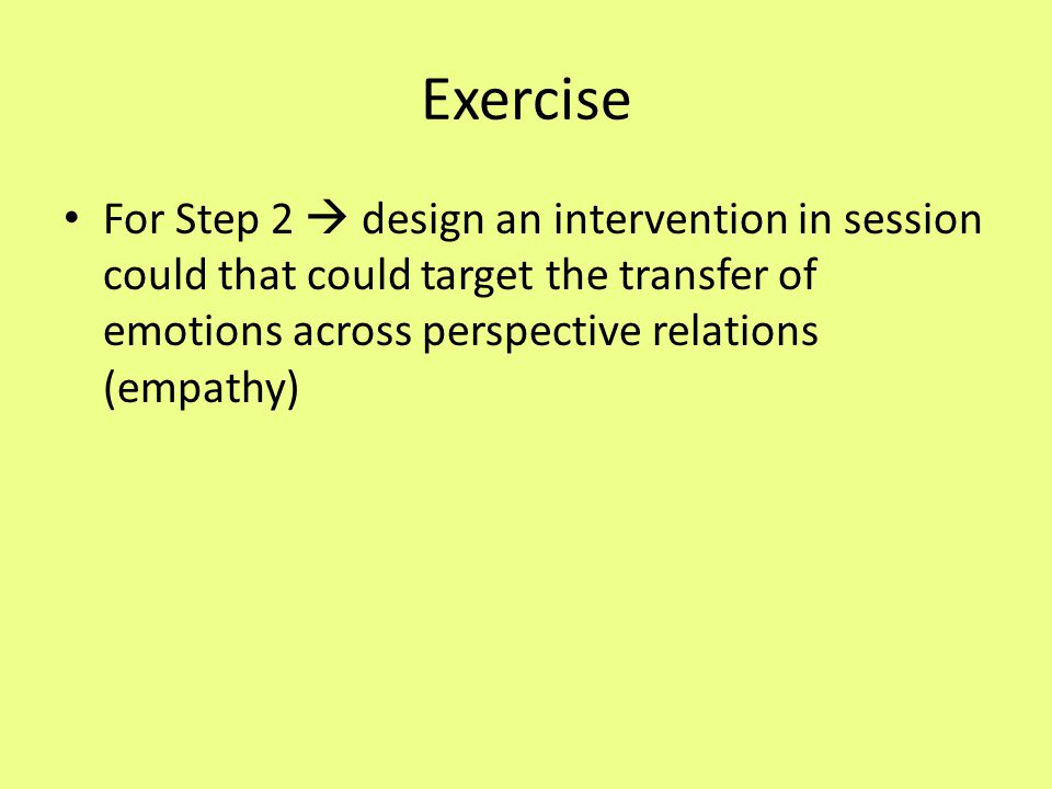 Exercise For Step 2  design an intervention in session could that could target the transfer of emotions across perspective relations (empathy)