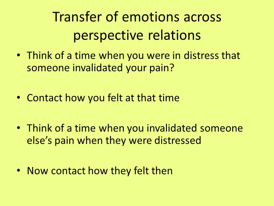 Transfer of emotions across perspective relations