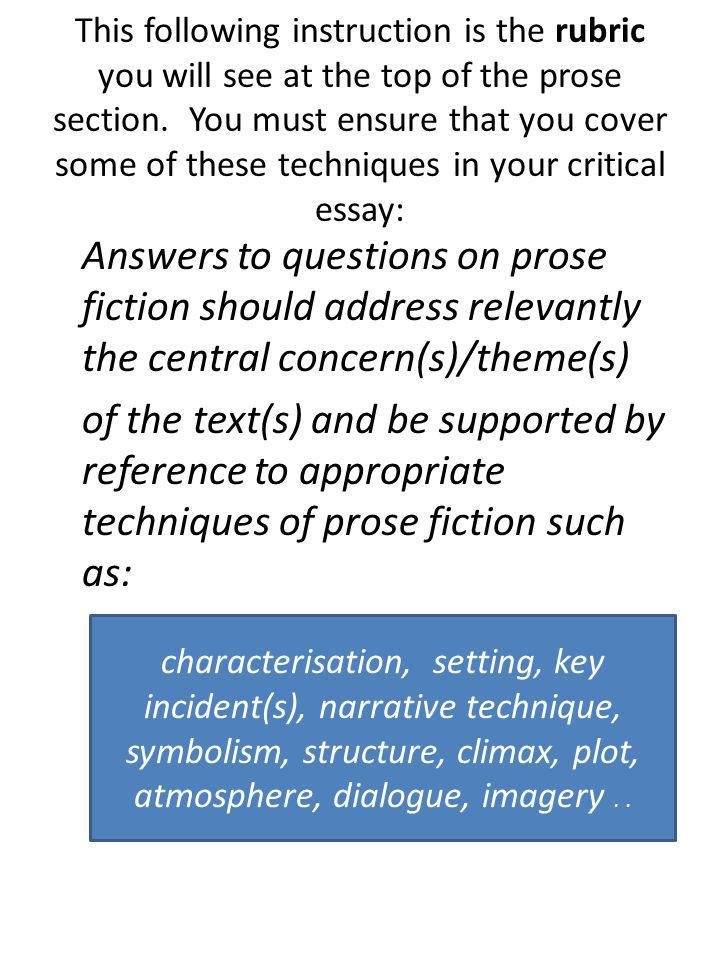 This following instruction is the rubric you will see at the top of the prose section. You must ensure that you cover some of these techniques in your critical essay: