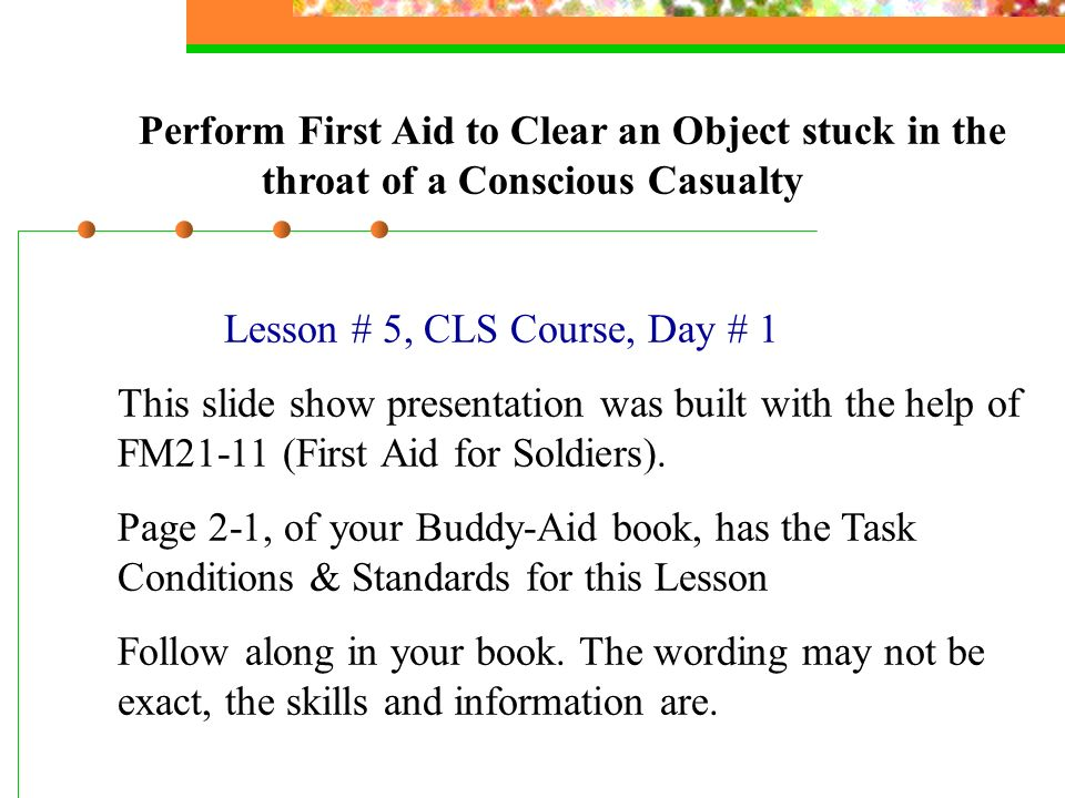 Lesson # 5, CLS Course, Day # 1