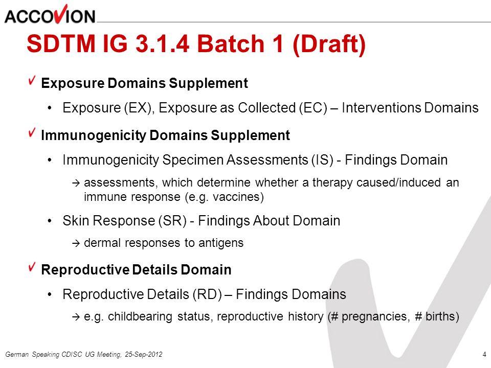 SDTM IG 3.1.4 Batch 1 (Draft) Exposure Domains Supplement