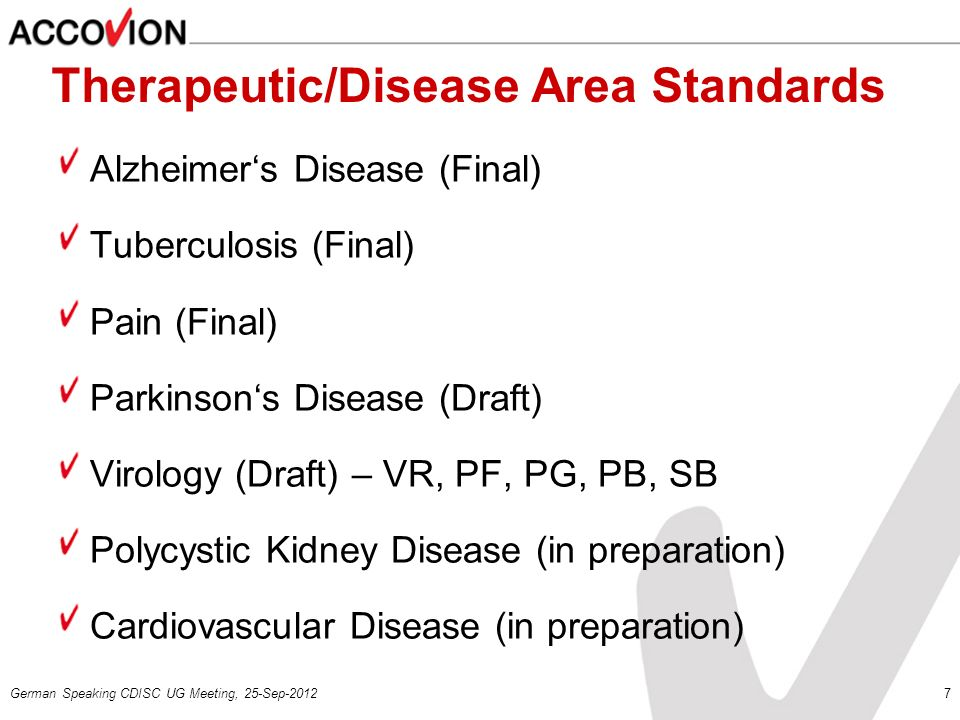 Therapeutic/Disease Area Standards