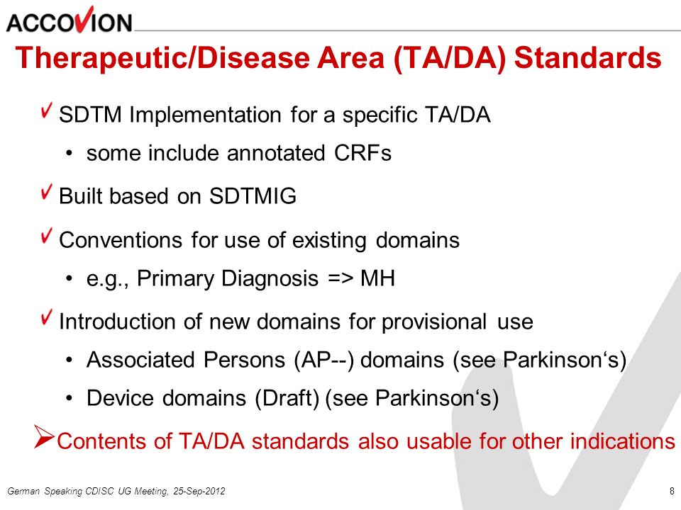 Therapeutic/Disease Area (TA/DA) Standards