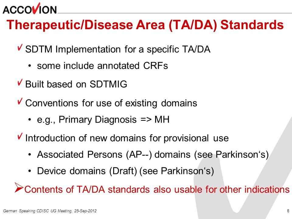 Therapeutic/Disease Area (TA/DA) Standards