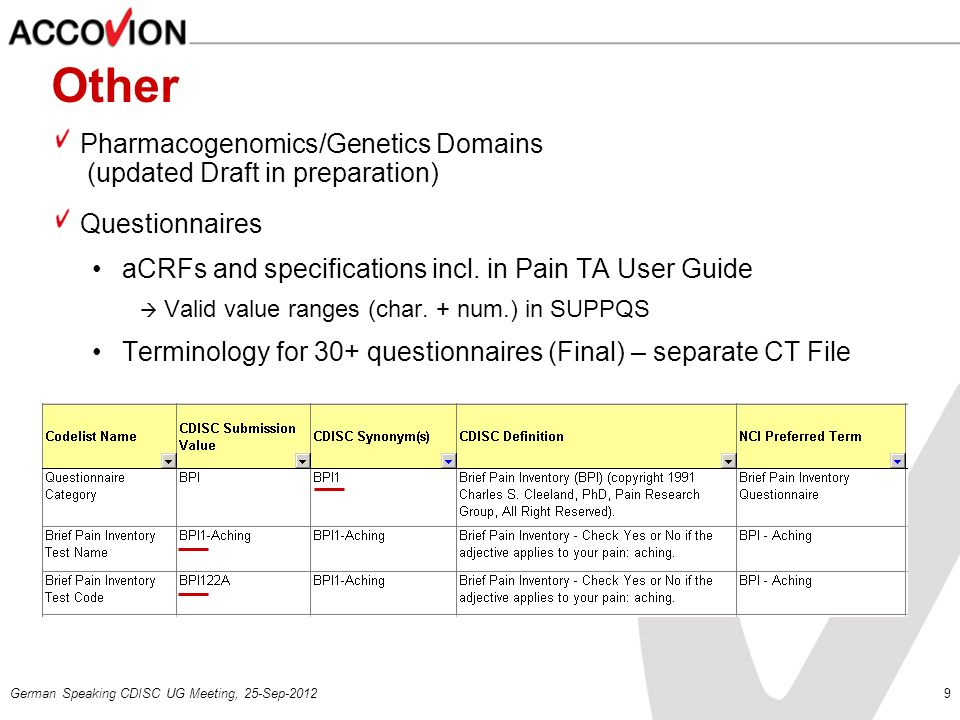 Other Pharmacogenomics/Genetics Domains (updated Draft in preparation)