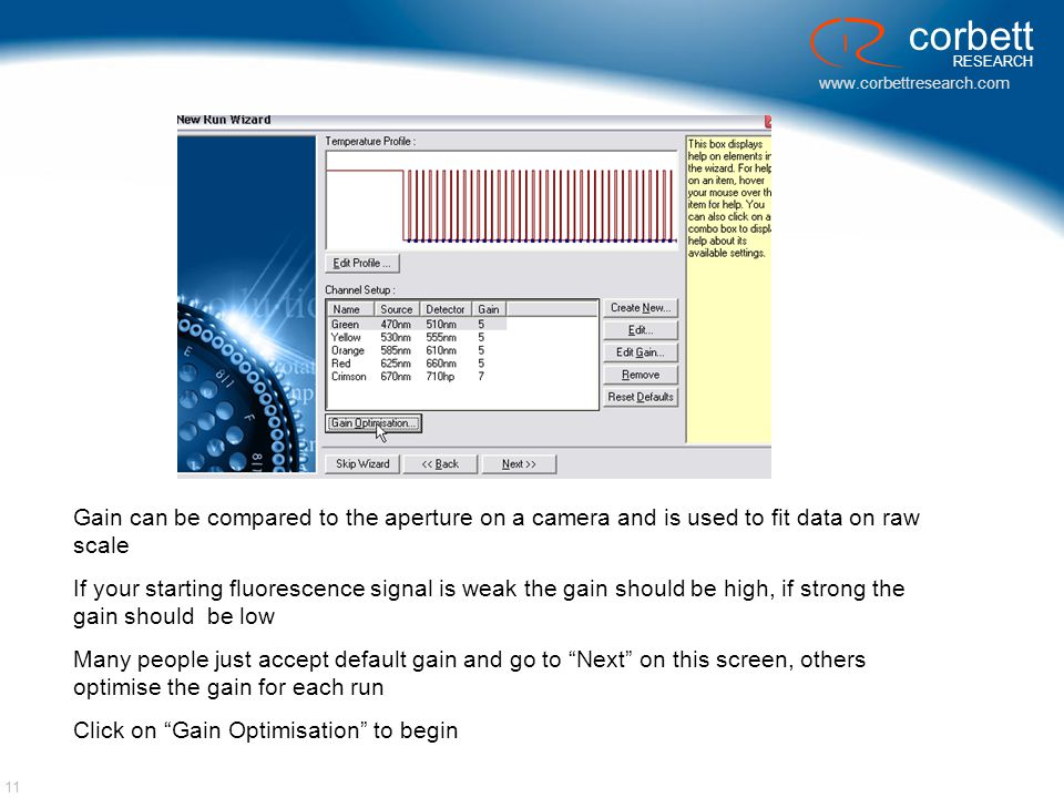 Gain can be compared to the aperture on a camera and is used to fit data on raw scale