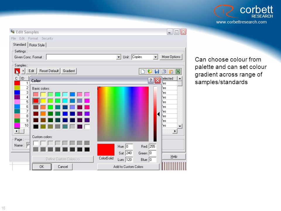 Can choose colour from palette and can set colour gradient across range of samples/standards