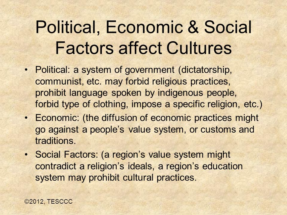 Political, Economic & Social Factors affect Cultures