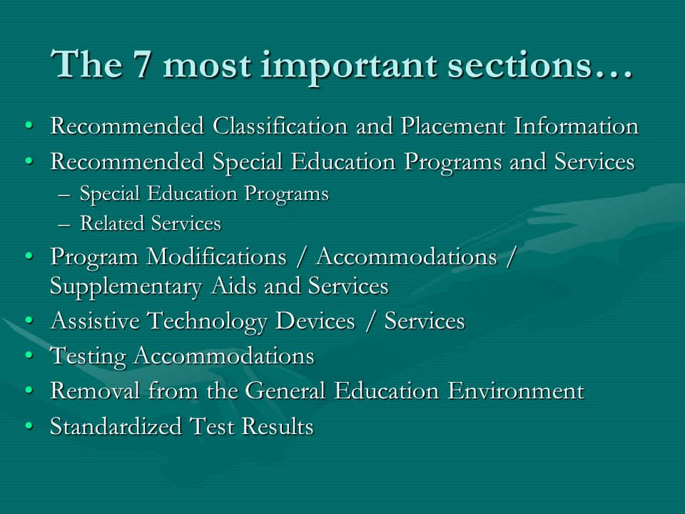 The 7 most important sections…