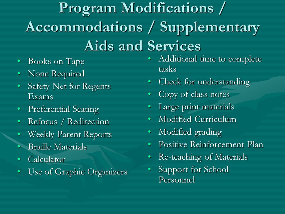 Program Modifications / Accommodations / Supplementary Aids and Services