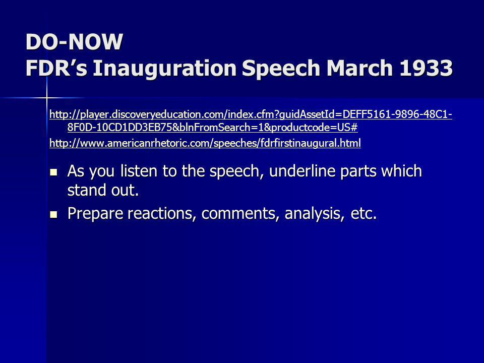 DO-NOW FDR's Inauguration Speech March 1933