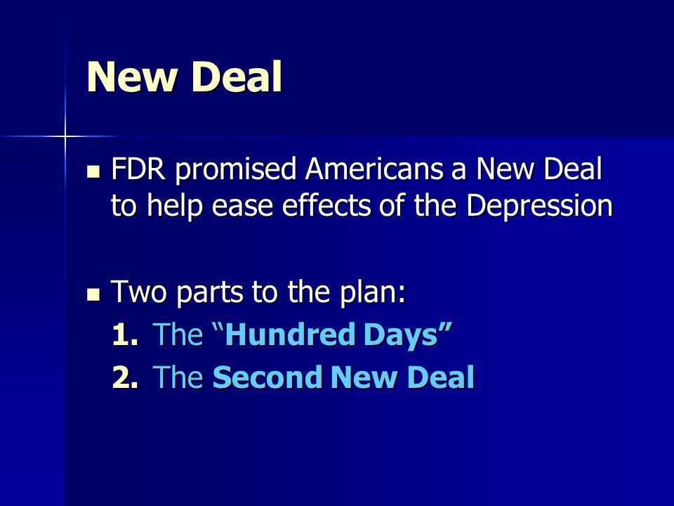 New Deal FDR promised Americans a New Deal to help ease effects of the Depression. Two parts to the plan:
