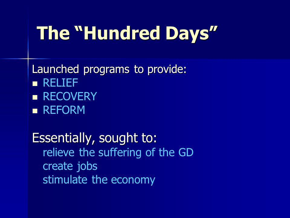 The Hundred Days Essentially, sought to: