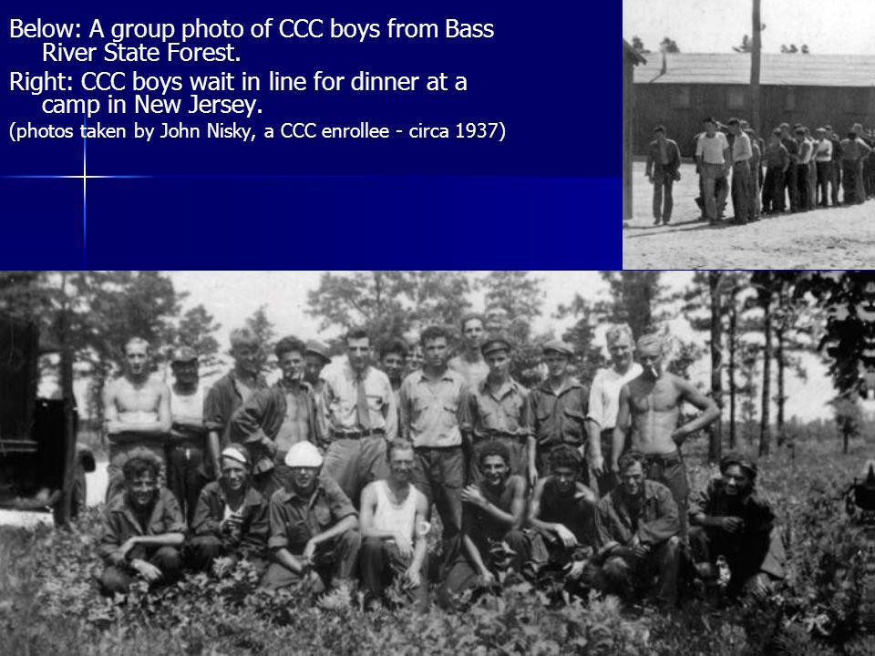 Below: A group photo of CCC boys from Bass River State Forest.