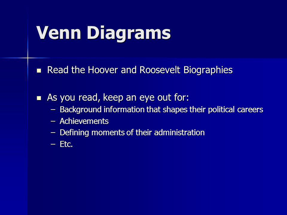 Venn Diagrams Read the Hoover and Roosevelt Biographies