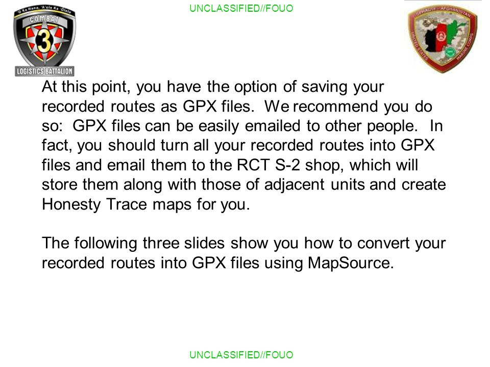 At this point, you have the option of saving your recorded routes as GPX files.