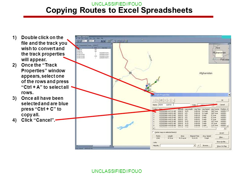Copying Routes to Excel Spreadsheets
