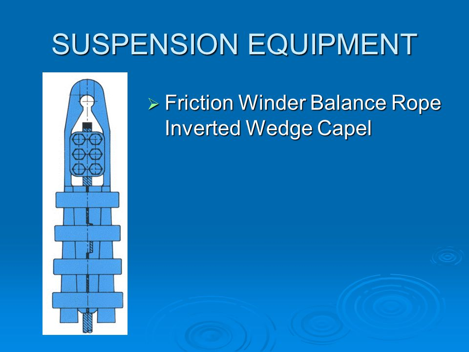 SUSPENSION EQUIPMENT Friction Winder Balance Rope Inverted Wedge Capel