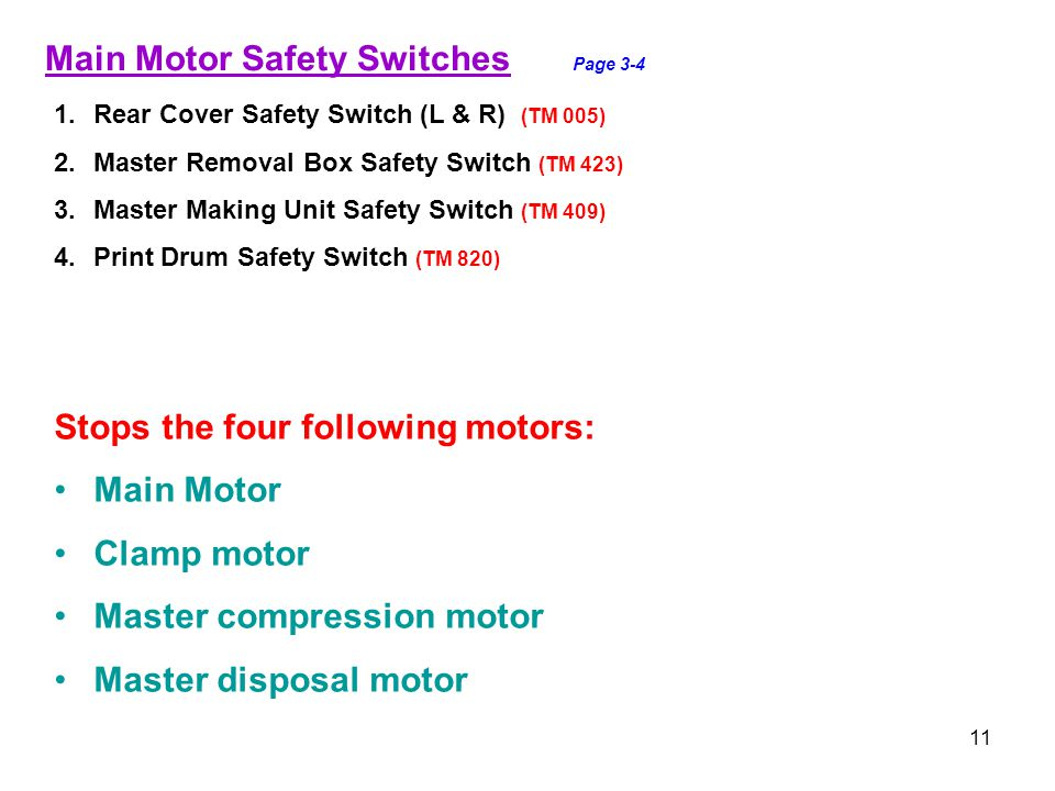 Main Motor Safety Switches Page 3-4